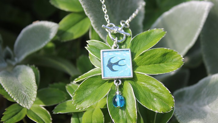 Swallow Framed Pendant