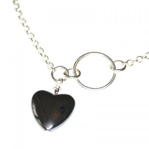 Asymmetric Hematite Heart Necklace