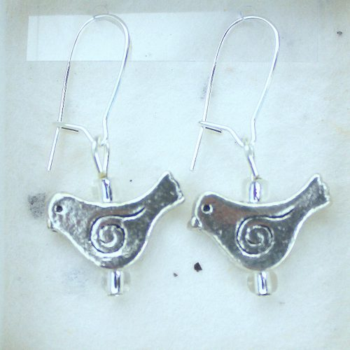 Spiral Bird earrings jewellery card