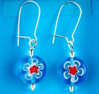 Blue Millefiori Glass Flower earrings card