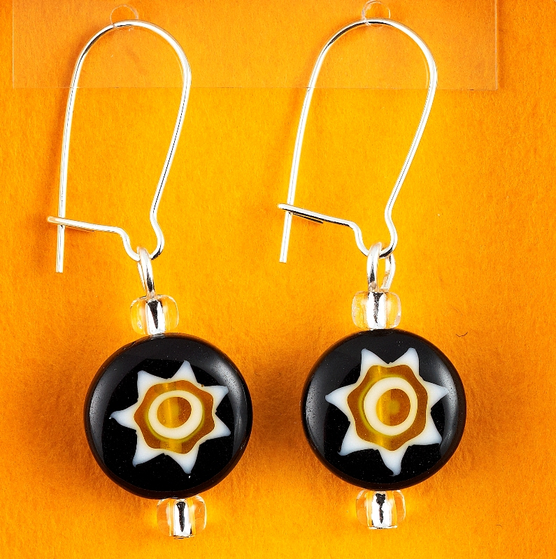 Black and Gold Millefiori Glass Flower earrings card