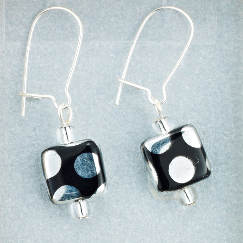 Silver Spot Square earrings card