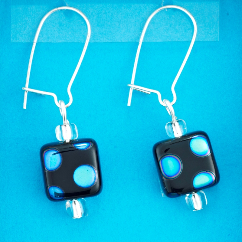 Blue Spot Square earrings card