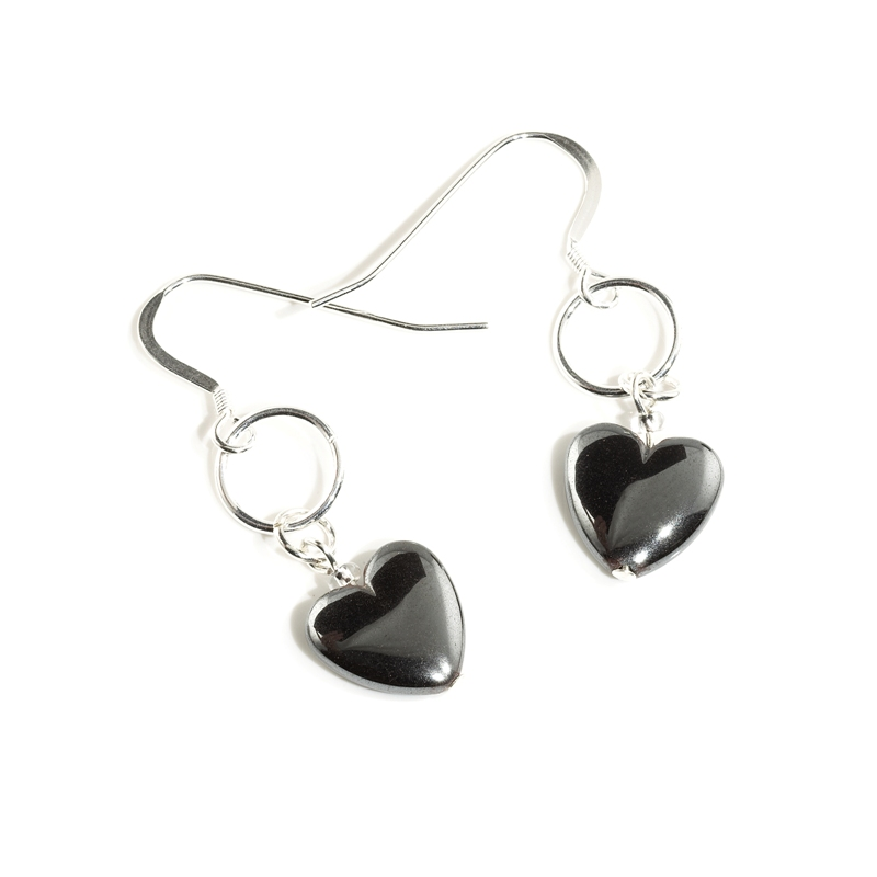 Hematite Heart earrings