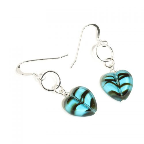 Marine Glass Heart earrings