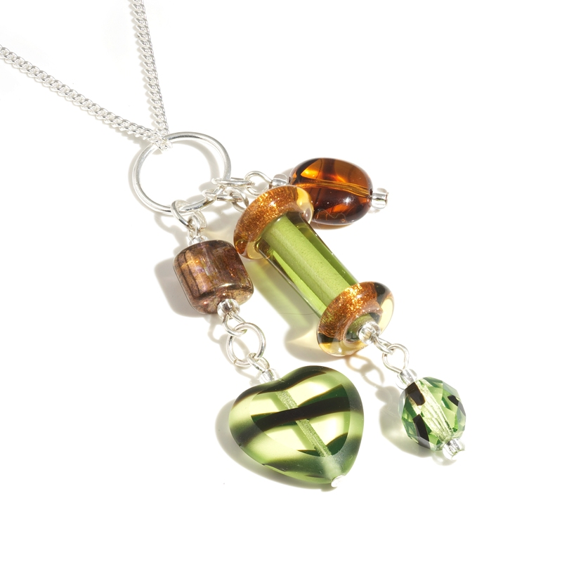 Olive Glass Column Necklace