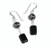 Snowflake Obsidian and Black Glass earrings