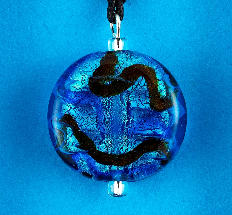 Blue Wave Glass Disc pendant card