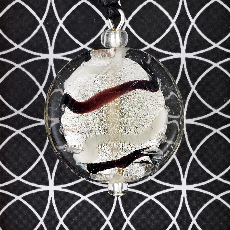 Silver Wave Glass Disc pendant card