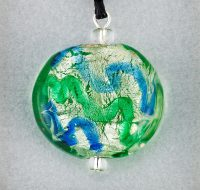 Marine Wave Glass Disc pendant card