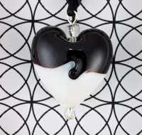 Black and White Glass Heart pendant