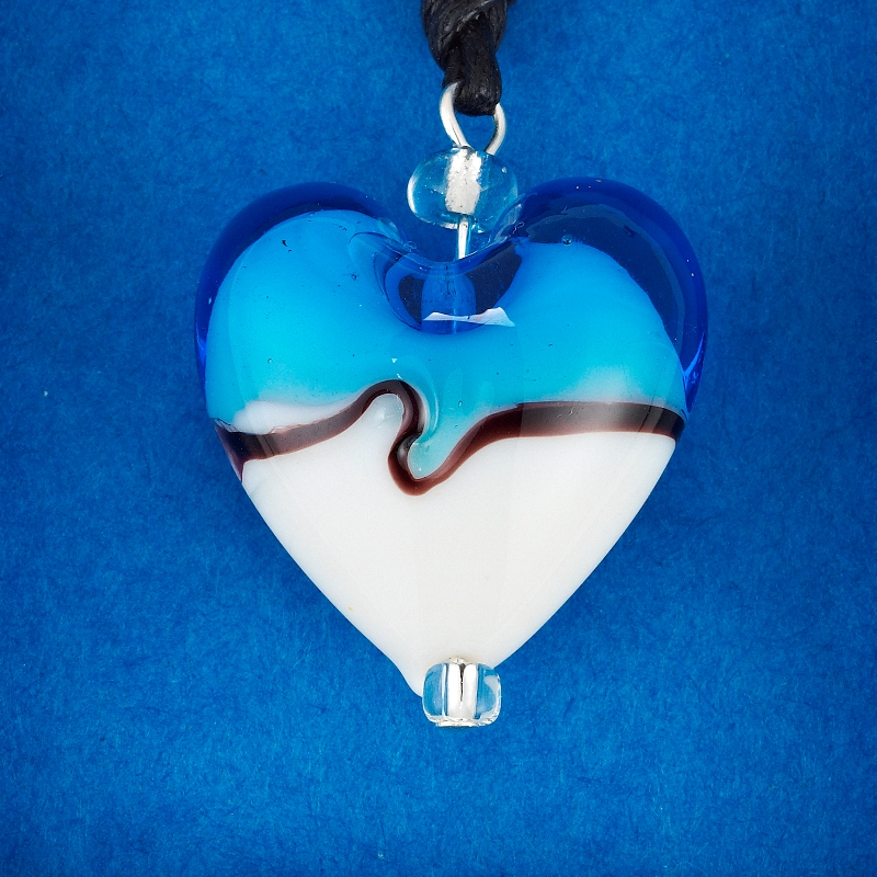 Blue and White Glass Heart pendant