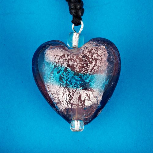 Turquoise Stripe Glass Heart pendant card