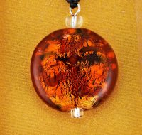 Amber Wave Glass Disc pendant card