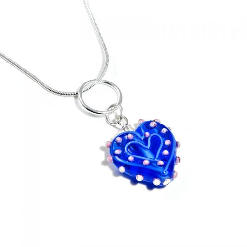 Blue Prickly Glass Heart Necklace