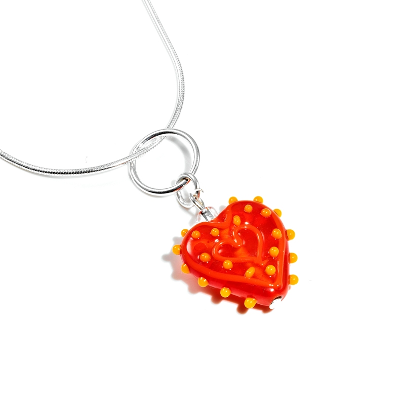 Flame Prickly Glass Heart Necklace