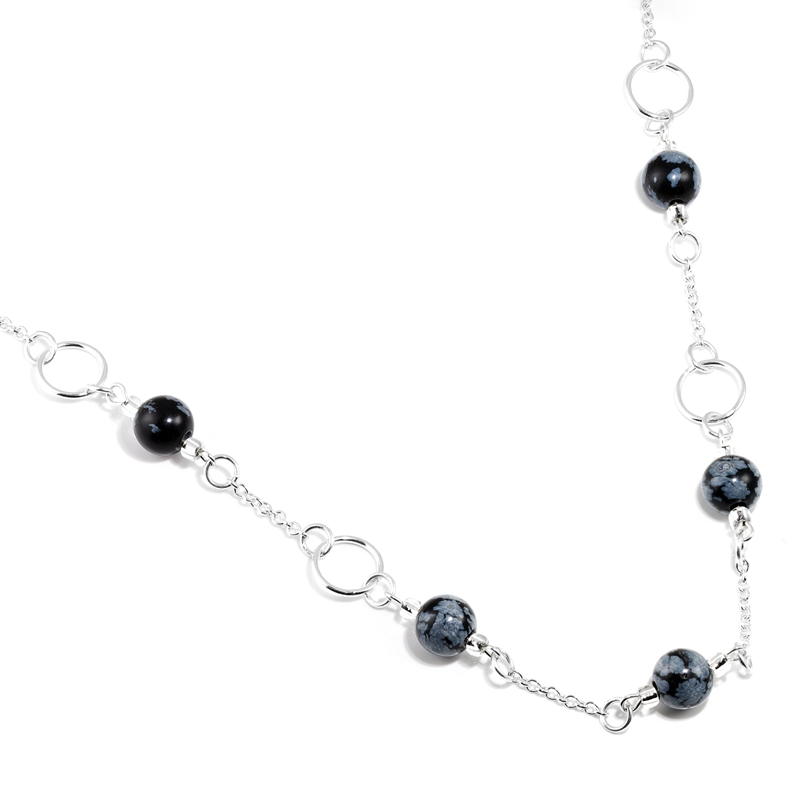 Snowflake Obsidian Silver Ring Necklace