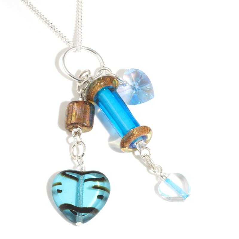 Turquoise Glass Column Necklace