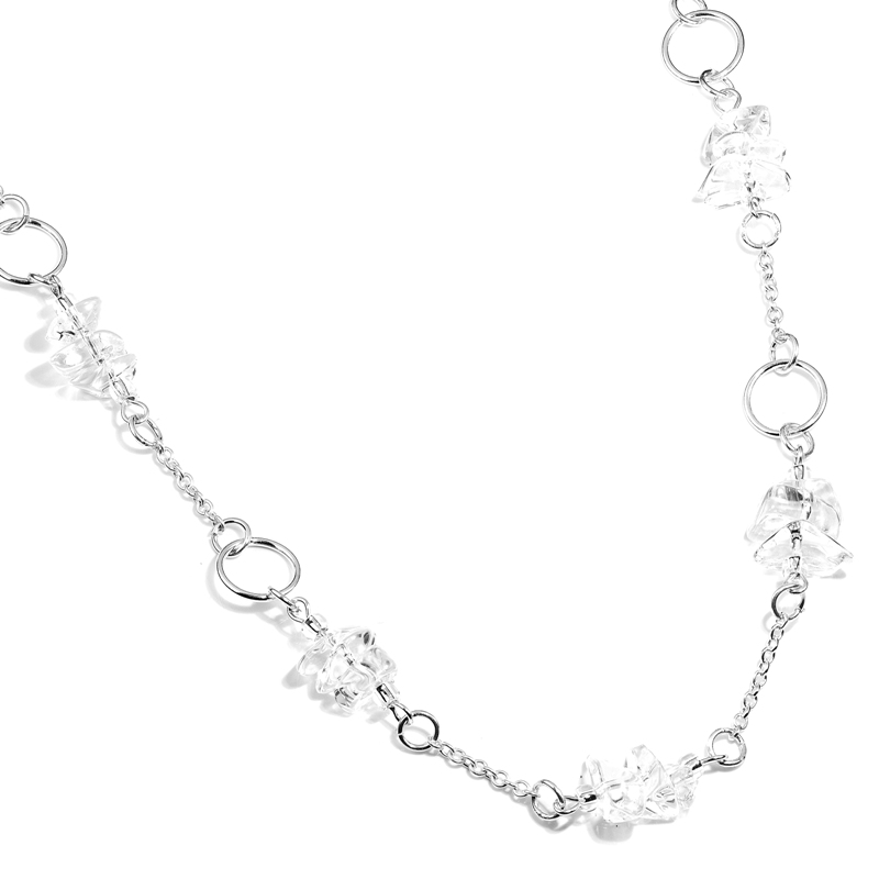 Crystal Quartz Silver Ring Necklace