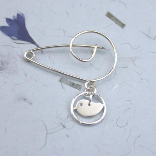 Sterling silver swirl pin