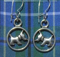 Blue Tartan Scottie Dog earrings