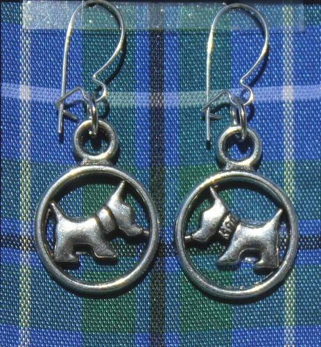 Blue Tartan Scottie Dog earrings