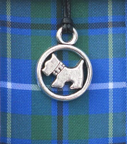 Blue Tartan Scottie Dog pendant