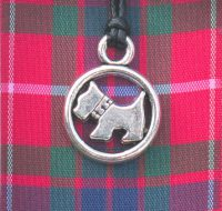 Red Tartan Scottie Dog pendant