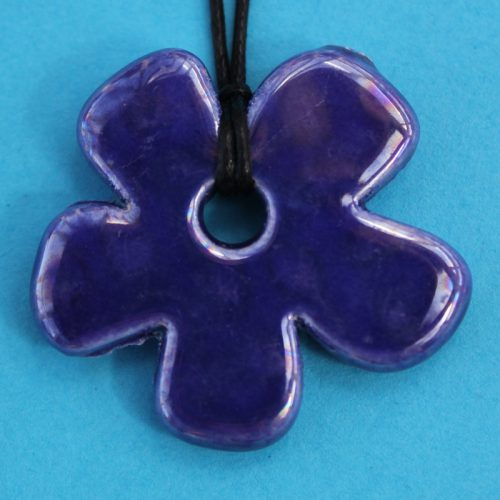 Blue Ceramic Flower pendant card