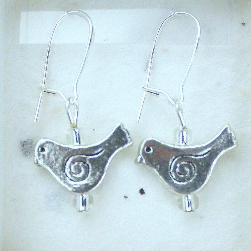 Spiral Bird earrings jewellery card