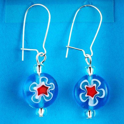 Blue Millefiori Glass Flower earrings card