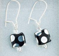 Silver Spot Square earrings card