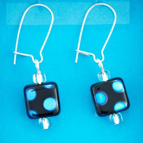 Blue Spot Square earrings card