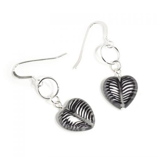 Monochrome Glass Heart earrings