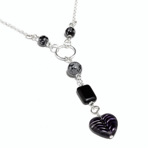 Snowflake Obsidian and Glass Necklace
