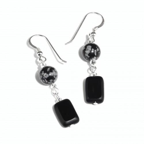 Snowflake Obsidian and Black Glass earrings