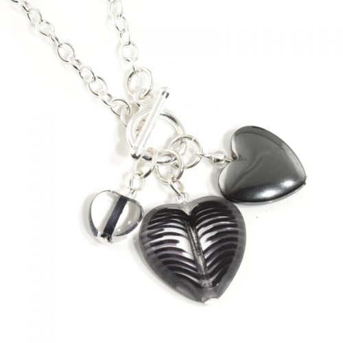 Monochrome Three Heart Necklace
