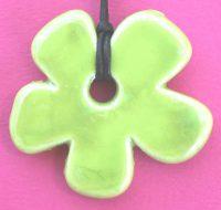 Lime Ceramic Flower pendant card