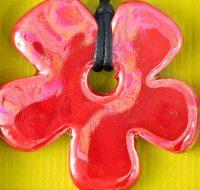 Red Ceramic Flower pendant card
