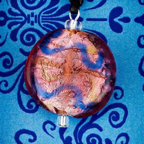 Lavender Wave Glass Disc pendant