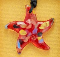 Ruby Glass Starfish pendant card