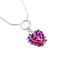 Lavender Prickly Glass Heart Necklace