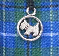Blue Tartan Scottie Dog pendant