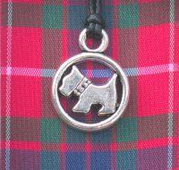 Red Tartan Scottie Dog pendant